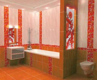 дизайн плитки в ванной с декоративными вставками - 1