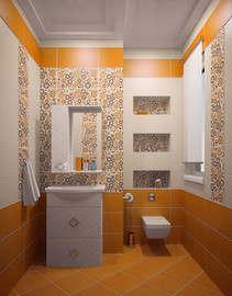 дизайн плитки в ванной с декоративными вставками - 2