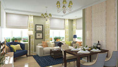 Проект двухкомнатной квартиры в американском стиле, ЖК Флагман