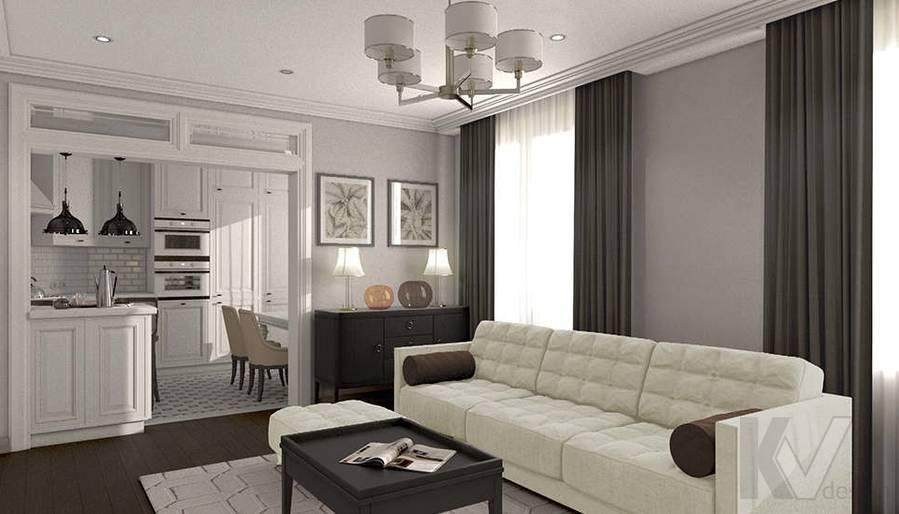дизайн гостиной-кухни в 3-комнатной квартире, Welton Park - 1