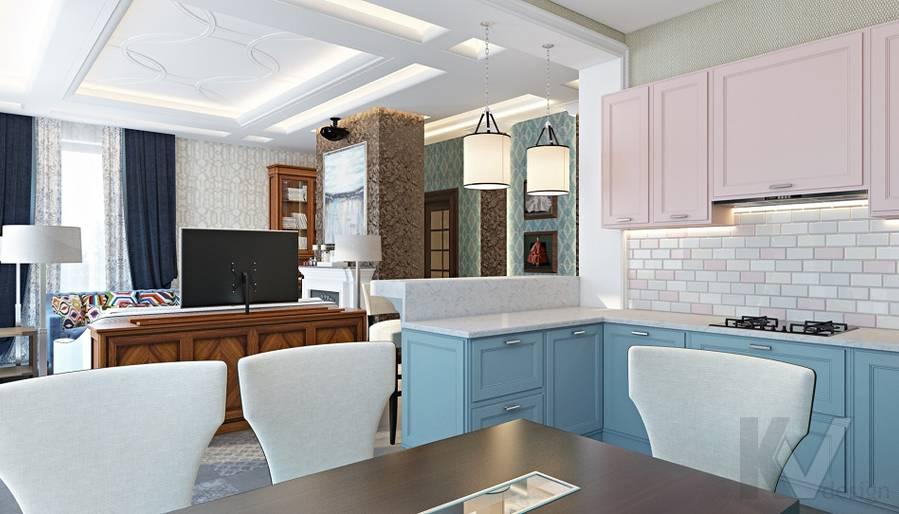 Дизайн гостиной-кухни в трехэтажном доме - 11
