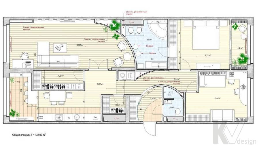 Дизайн квартиры в ЖК Аэробус, планировка-2
