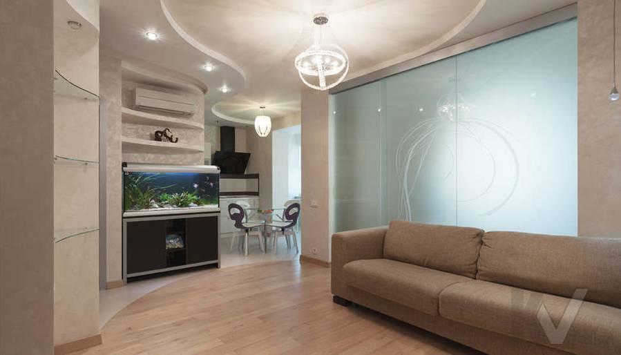 Фото дизайна гостиной-кухни - 1