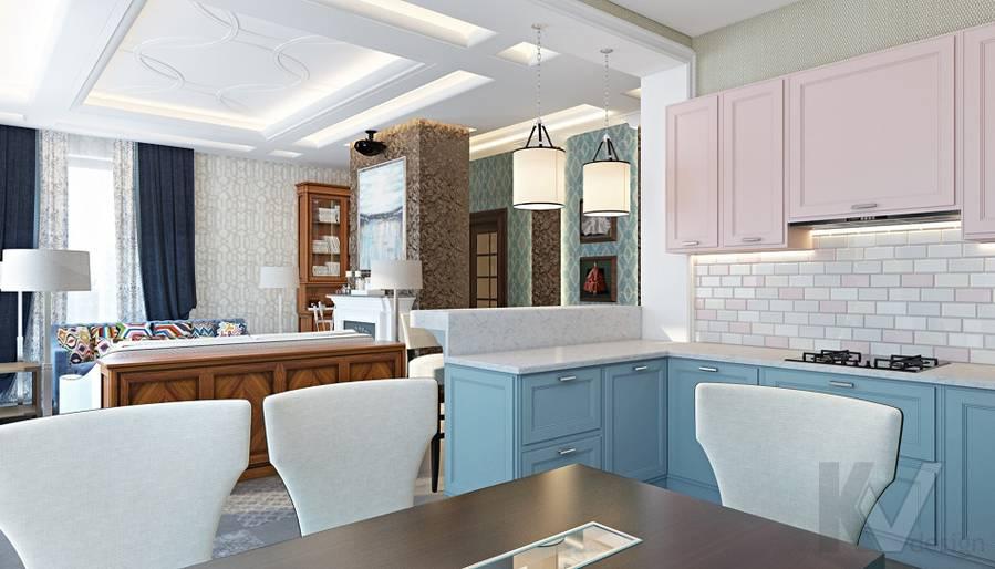 Дизайн гостиной-кухни в трехэтажном доме - 10