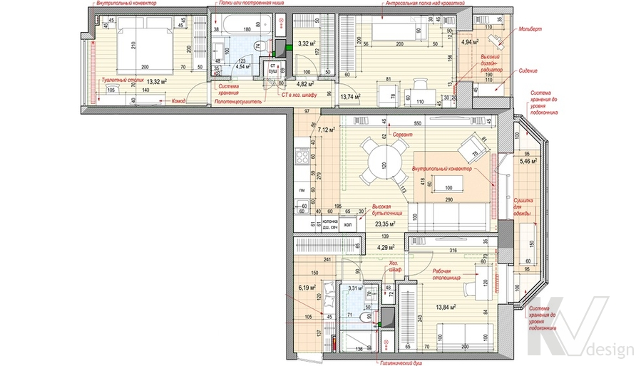 Перепланировка 3-комн. квартиры в Раменках