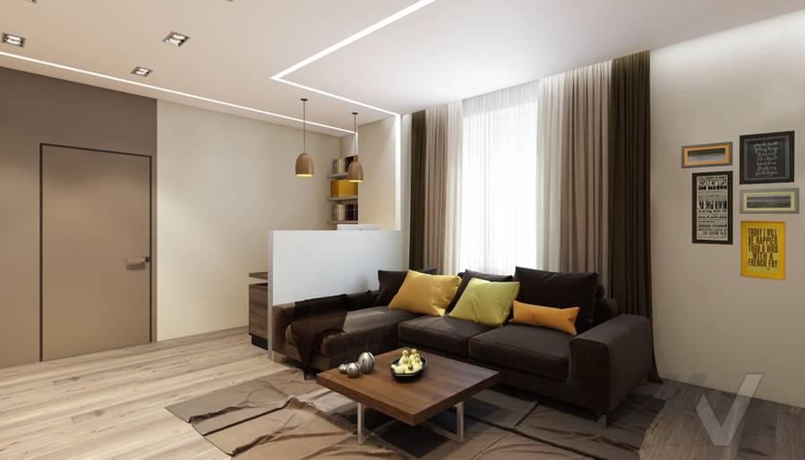 дизайн гостиной в квартире на проспекте Вернадского - 2