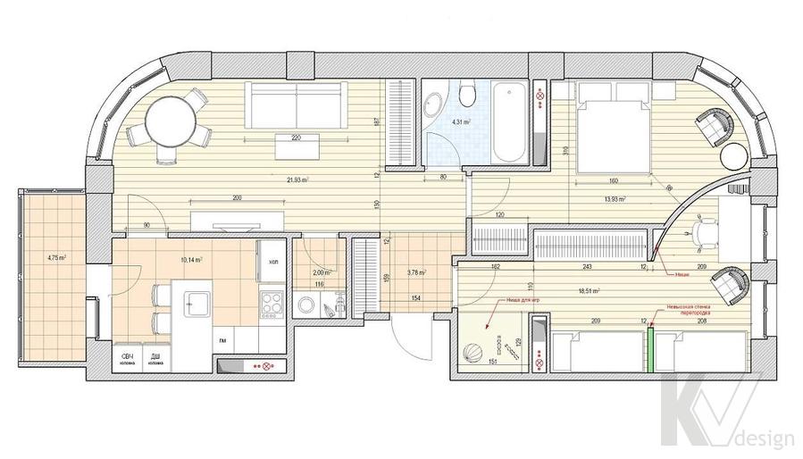 Дизайн квартиры 70 кв.м., план-1
