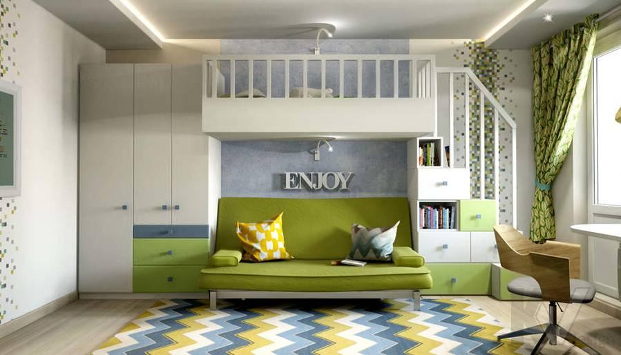 дизайн комнаты старшего ребенка серии П-3, Новое Ясенево - 1
