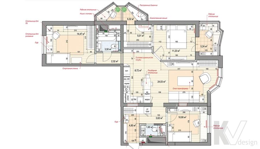 Перепланировка 3-комнатной квартиры И-155 в Красногорске