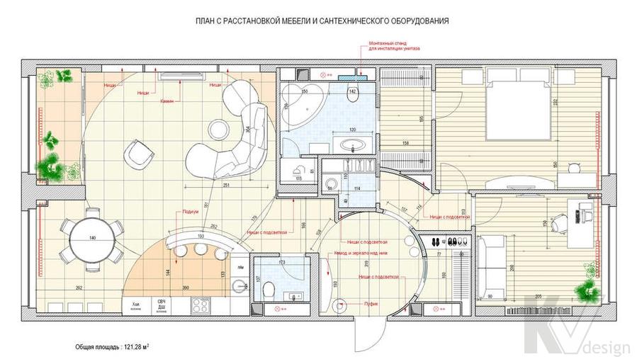 Дизайн трехкомнатной квартиры, ЖК Аэробус, планировка