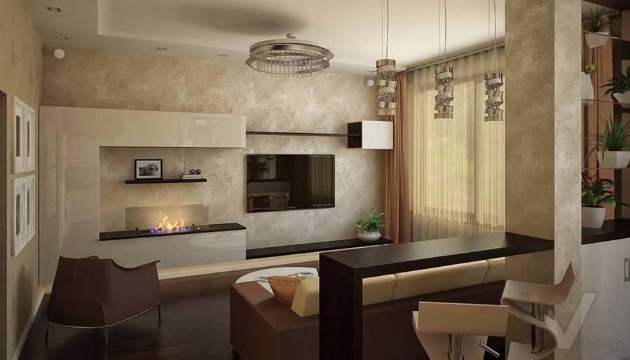 Таунхаус в п. Павлово, дизайн гостиной - 3