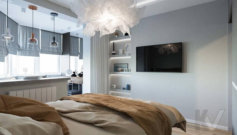 Дизайн спальни в двухкомнатной квартире, Сходненская - 3