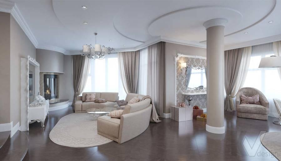 Дизайн гостиной в коттедже, КП Эдельвейс - 1