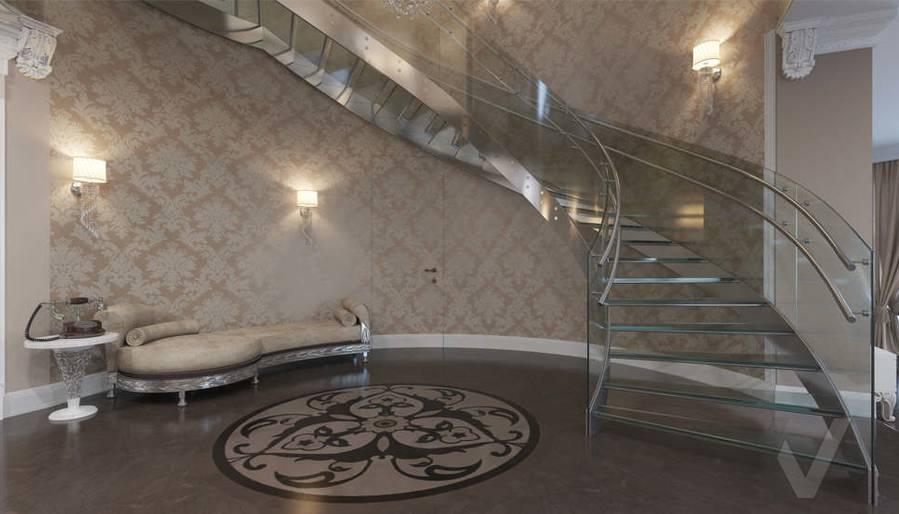 Дизайн холла на 1-ом этаже в коттедже, КП Эдельвейс - 2