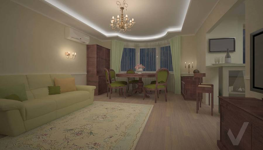 дизайн интерьера двухкомнатной квартиры, Мытищи