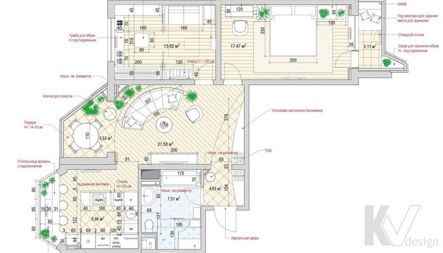 перепланировка 3-комнатной квартиры П-44Т
