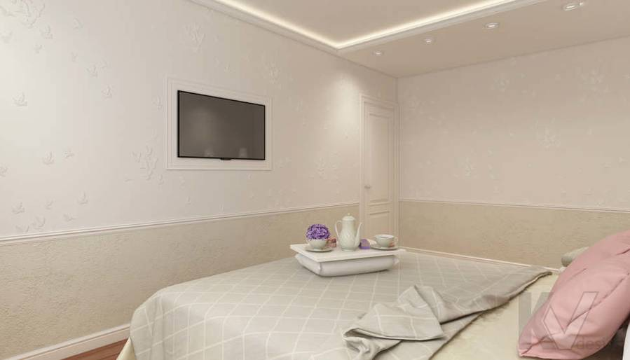 дизайн спальни в 3-комнатной квартире П-44Т - 3