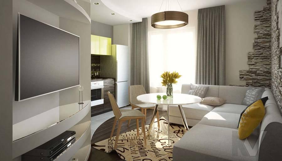 Дизайн гостиной-кухни в 2-комнатной квартире, Мытищи - 2