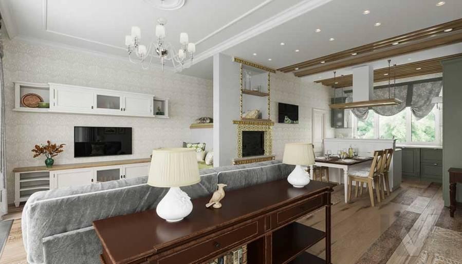 Гостиная в будущем доме в Софрино - 3