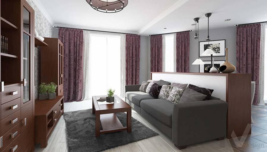 дизайн гостиной-кухни в 3-комнатной квартире, Троицк - 3