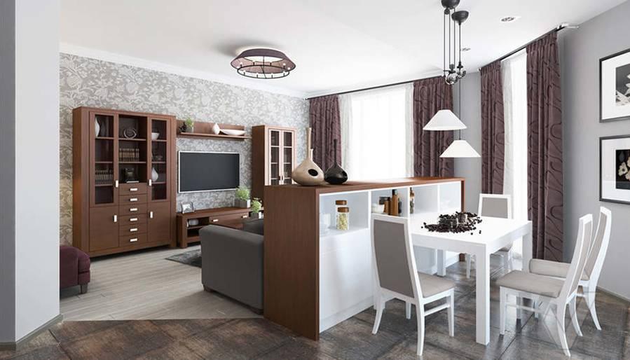 дизайн гостиной-кухни в 3-комнатной квартире, Троицк - 1