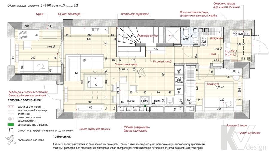 Перепланировка 1-го этажа, Южная Долина