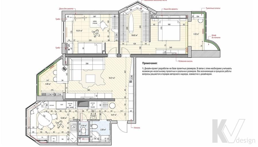 Перепланировка 3-комнатной квартиры П-44Т, Речной вокзал