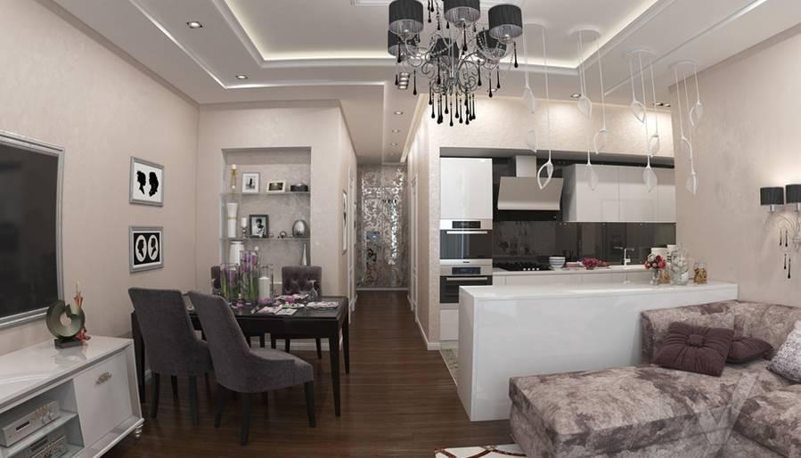 дизайн гостиной в 3-комнатной квартире в ЖК Лосиный Остров - 3