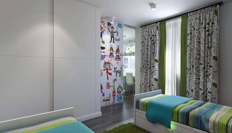 Дизайн спальни-детской в 5-комнатной квартире, Климовск - 4
