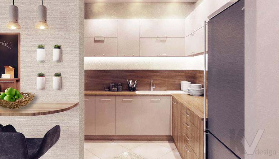 дизайн гостиной-столовой в 3-комнатной квартире, Митино - 2