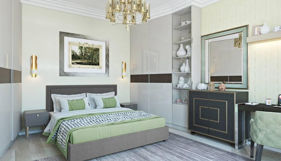 Спальня в двухкомнатной квартире, ЖК Виноградный - 1