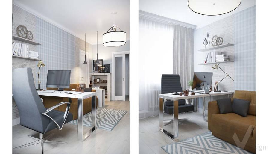 Дизайн кабинета в квартире П-3М на Профсоюзной - 1