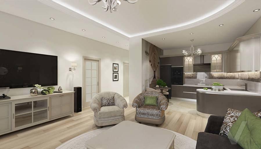 """Дизайн гостиной-кухни в 2-комнатной квартире, ЖК """"Авеню 77"""" - 3"""