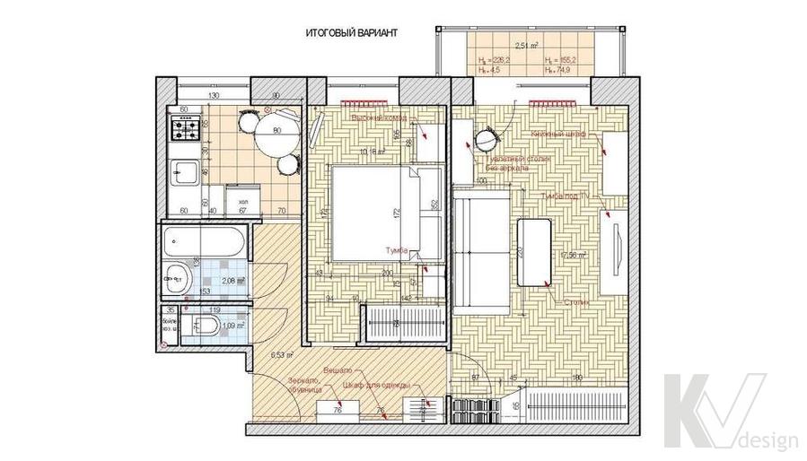 Дизайн квартиры на м. Речной вокзал, планировка