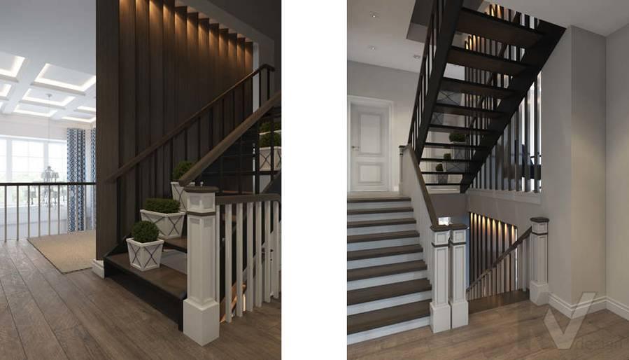 Дизайн лестничной зоны в коттедже, КП «Vita Verde» - 3