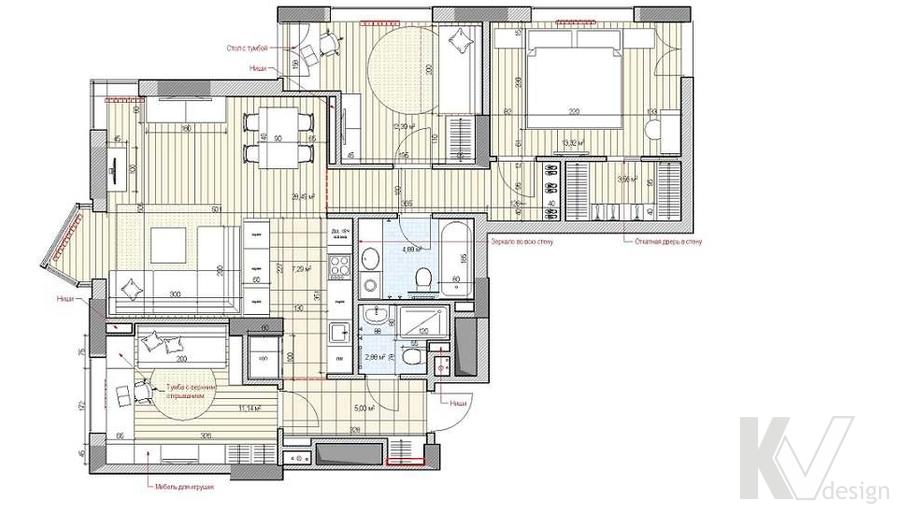 перепланировка 3-комнатной квартиры в ЖК Лосиный Остров