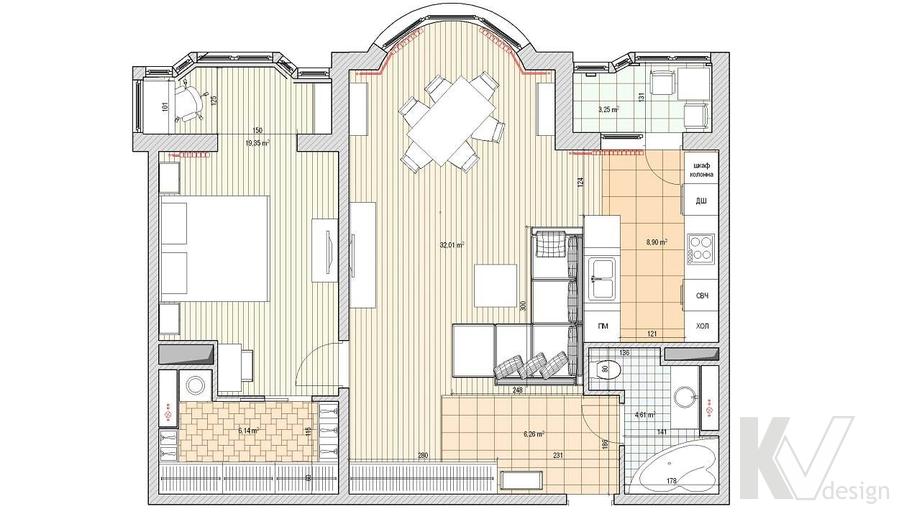 Дизайн квартиры на Профсоюзной, планировка-1
