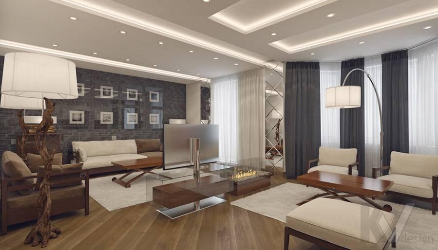 Дизайн гостиной в 4-комнатной квартире, м. Киевская - 1