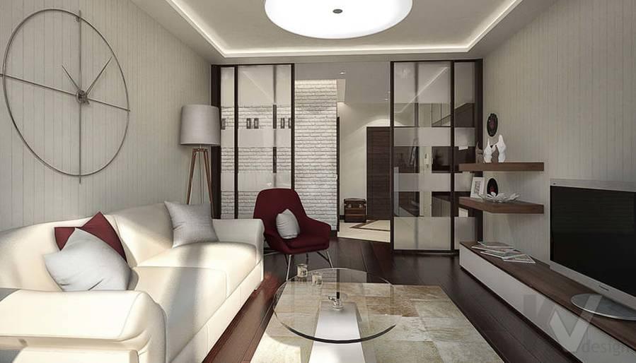 Дизайн интерьера гостиной в двухкомнатной квартире, Подольск