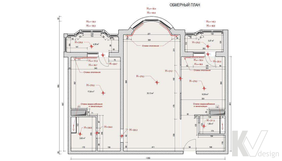 исходная планировка двухкомнатной квартиры И-155, Мытищи