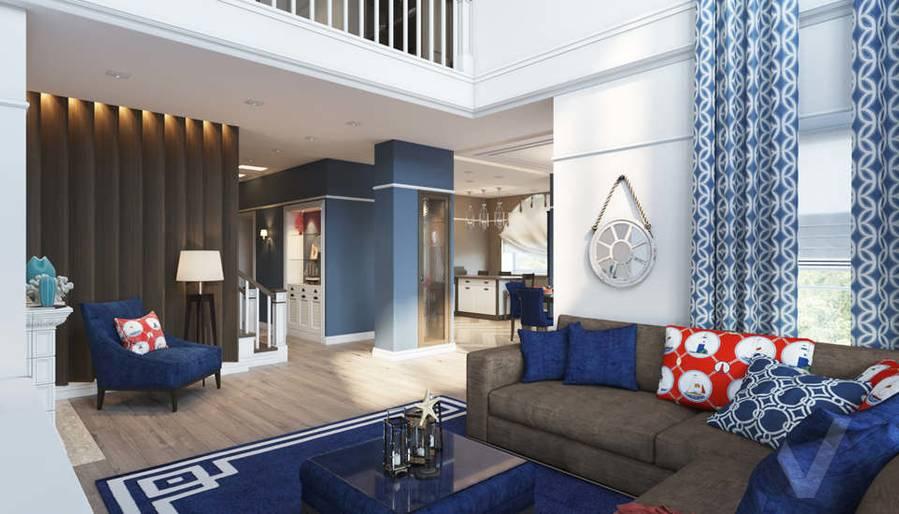 Дизайн гостиной в коттедже, КП «Vita Verde» - 1