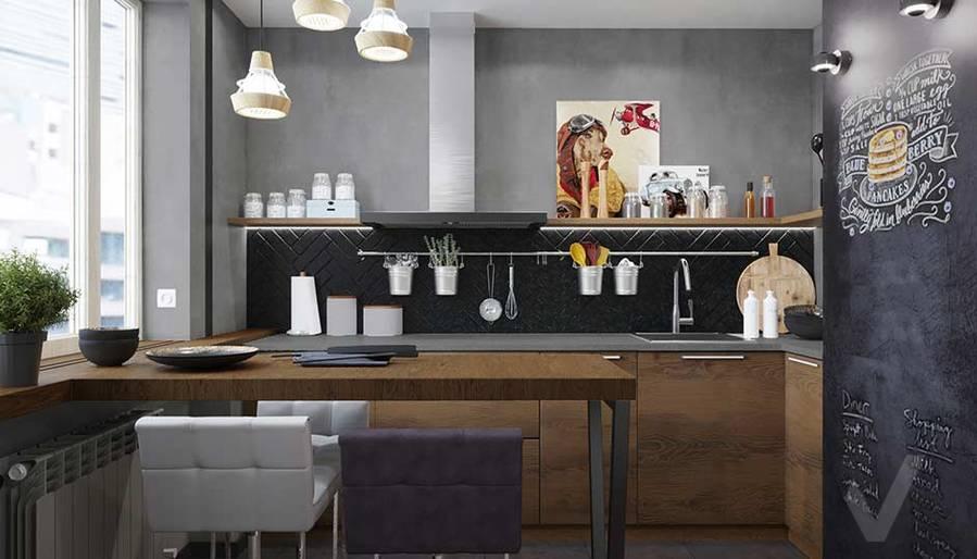 Дизайн кухни в квартире П-44, м. Кузьминки - 1