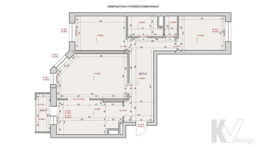 Планировка в 3-комнатной квартире 100 кв.м., Реутов