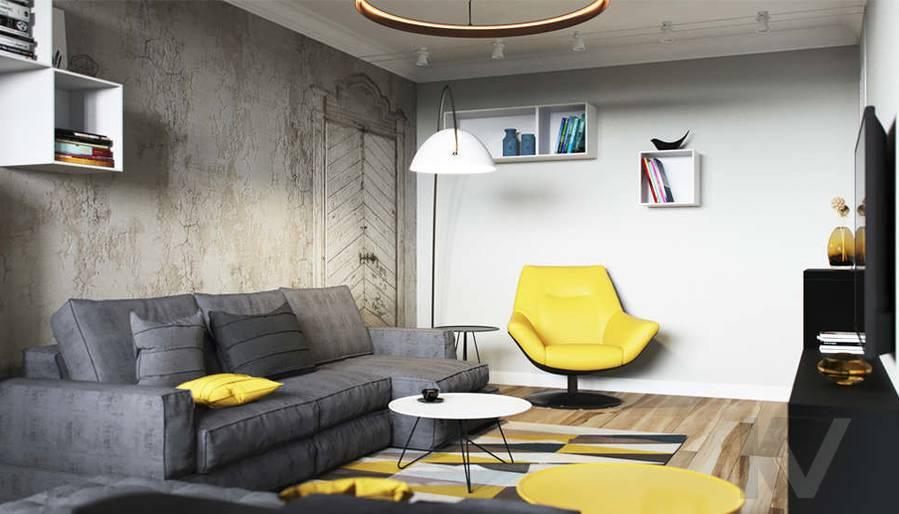 Дизайн гостиной в двухкомнатной квартире, Сходненская - 4