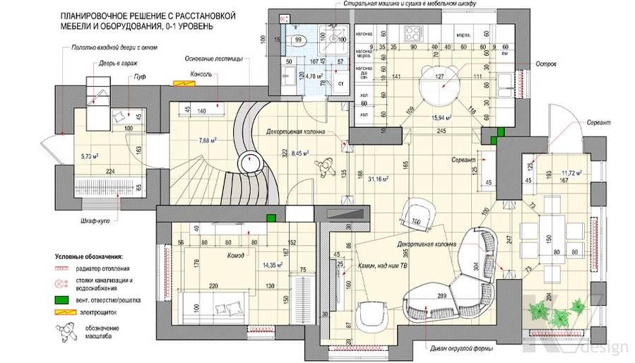 Перепланировка первого этажа загородного дома, Медвежьи Озера