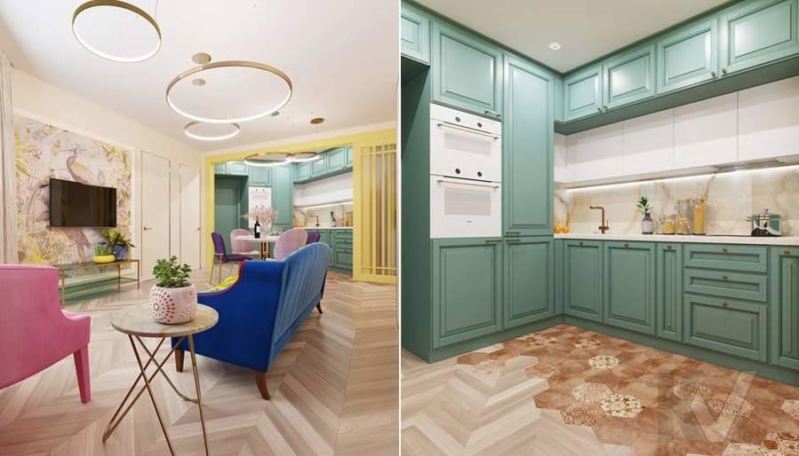Дизайн гостиной-кухни в ЖК Летний Сад - 4