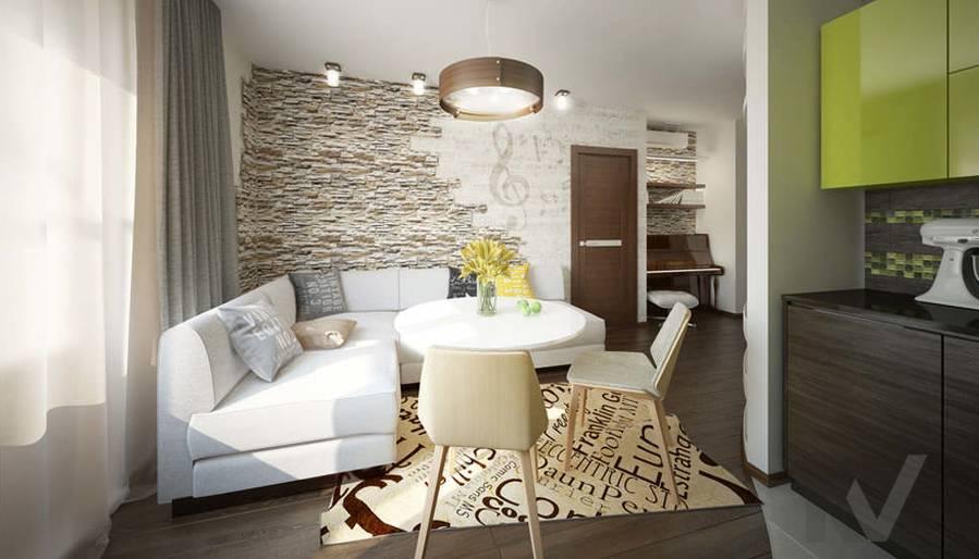 Дизайн гостиной-кухни в 2-комнатной квартире, Мытищи - 4