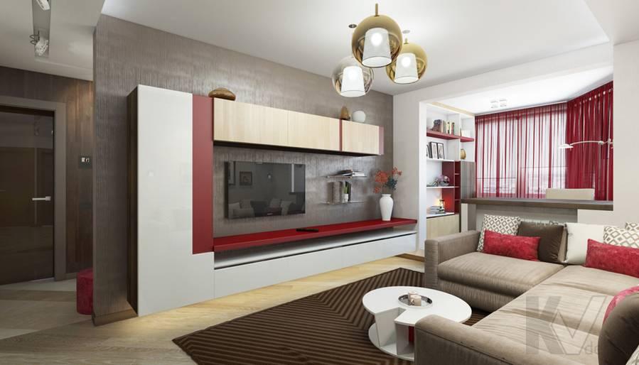 дизайн гостиной в 3-комнатной квартире П-44Т, Речной вокзал - 3