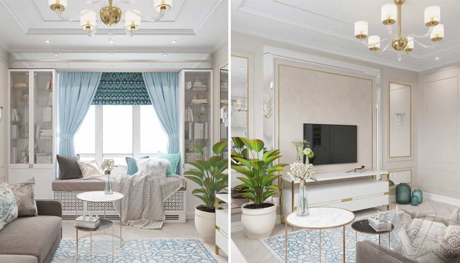Дизайн гостиной-кухни в ЖК Тимирязев Парк - 4
