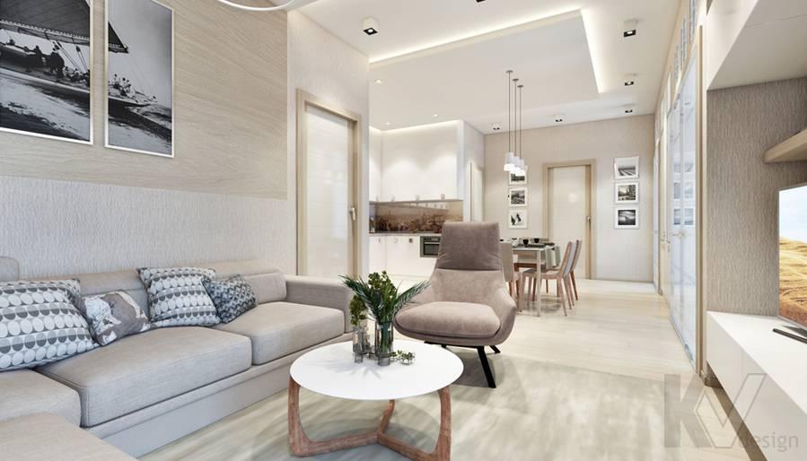 Дизайн гостиной в квартире, ЖК Авеню-77 - 2